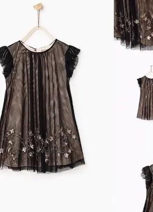 Нарядное красивое платье Zara 7/8 лет , с пайетками