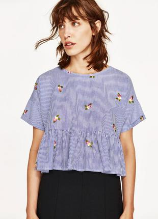 Голубая блузка рубашка Zara с вышивкой