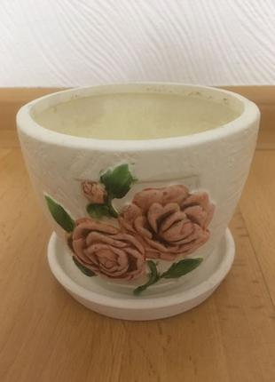 Красивый вазон кашпо горшок для цветов (меньший)