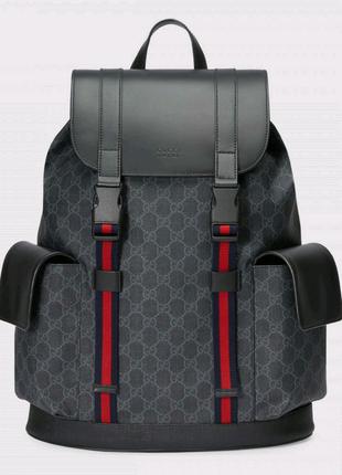 Рюкзак Гуччи, Gucci Soft GG Supreme Backpack Black/Grey