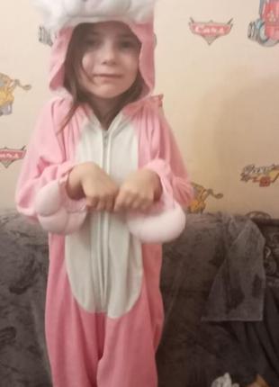 Карнавальный костюм пасхального розового кролика, рост 104 -116.