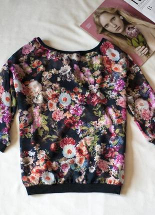 Красивейшая блуза джемпер с цветочным рисунком bershka, размер s