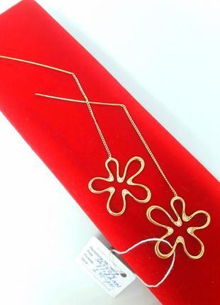 Серьги-протяжки позолоченные, серьги цветок позолота длинные