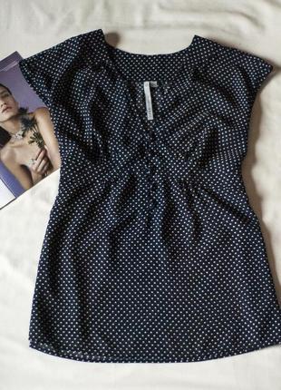 Красивая черная блузка в горох с коротким рукавом crew, размер...