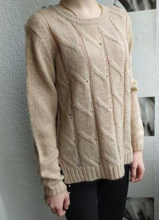 Фирменный мохеровый свитер, кофта, свитшот для девочки/пудра
