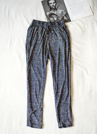 Летние черные штаны брюки в белый горох  h&m, размер xs