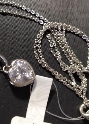 Кулон с цепочкой/стерлинговое серебро с родиевым покрытием
