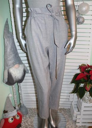 Серые брюки с высокой талией h&m