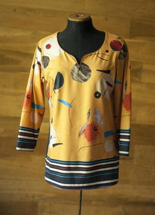 Супер стильная желтая блуза с принтом carnaby, размер m