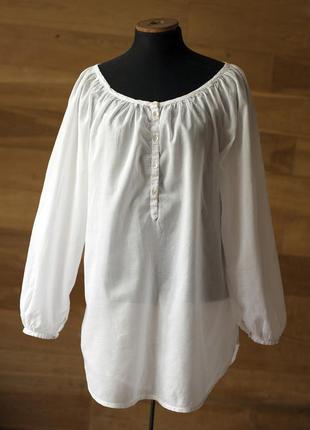 Нежная и легкая белая хлопковая блузка {италия}, размер xl