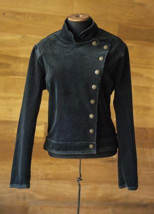 Черная вельветовая приталенная куртка жакет morgan, размер l