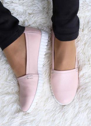 Кожаные женские комфортные розовые туфли балетки эспадрильи на...