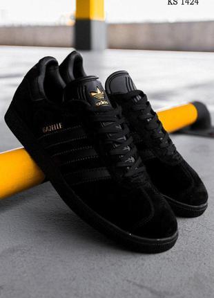 Кроссовки мужские на лето adidas gazelle (черные)