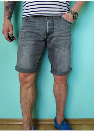 Мужские серые джинсовые шорты tom tailor denim на пуговицах
