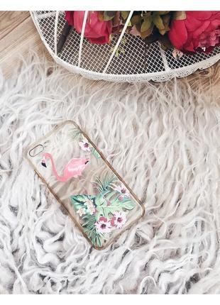 Крутой чехол с фламинго для айфон 7+