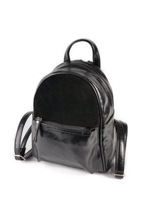 Маленький женский рюкзак из эко-кожи, мини рюкзак черный комби...