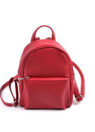 Маленький женский рюкзак из эко-кожи, мини рюкзак красный