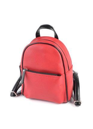 Маленький женский рюкзак из эко-кожи, мини рюкзак красный+ черный
