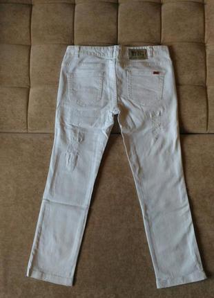 Рваные, белые джинсы object, р.10-12, лето/весна