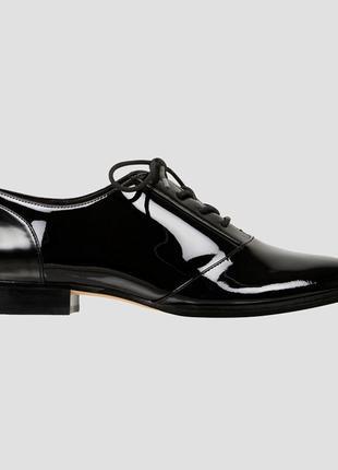 Чёрные оксфорды туфли лоферы лакированные на шнуровке новые ni...