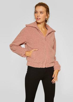 Трендовая куртка бомбер из искусственного меха розового цвета ...