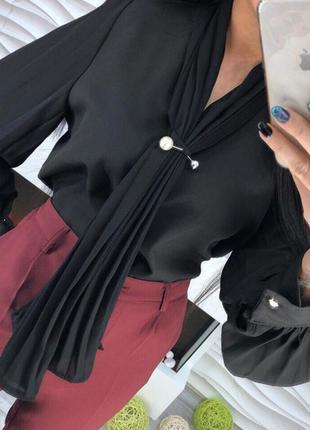 Шифоновая блузка рубашка плиссировка