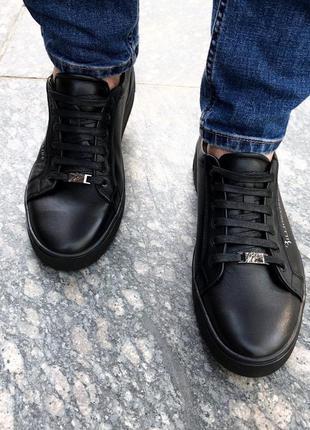 Натуральные кожаные мужские кроссовки ничего лишнего