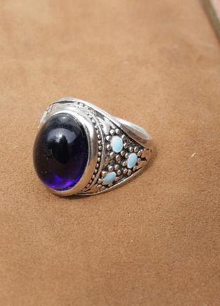 Кольцо серебро эмаль аметист 10г