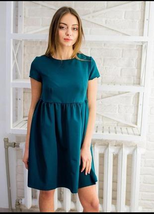 Зеленое темно бирюзовое платье миди
