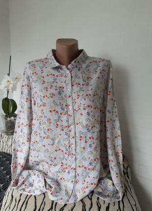Віскозна сорочка в горошок з квіточками