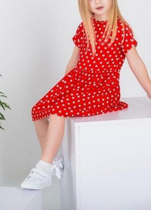❤красное🎈 платье в горошек для девочки