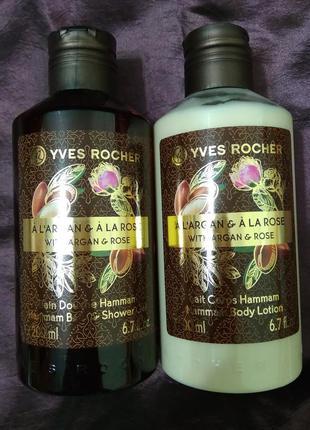 Уходовый набор для тела yves rocher аргания-роза (молочко+гель...