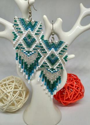 Голубые серьги в этно стиле