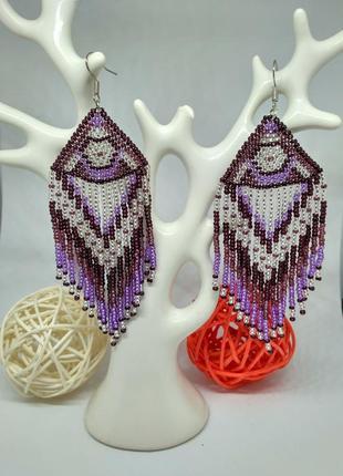 Фиолетовые сережки в этно стиле