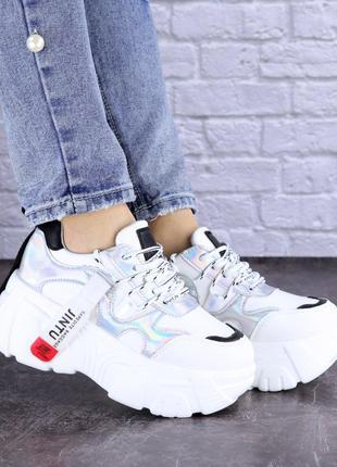 Модные женские кроссовки, белые + серебро, весна, осень, р. 36-41