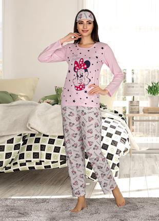Жіноча літня котонова піжама з пов'язкою Woman Homewear Код:80101