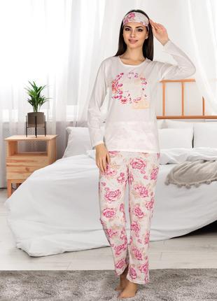 Жіноча літня котонова піжама з пов'язкою Miss Carella  Код: 80102