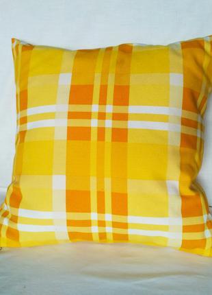 """Интерьерная подушка """"жёлтая клетка"""", 40*40 см"""