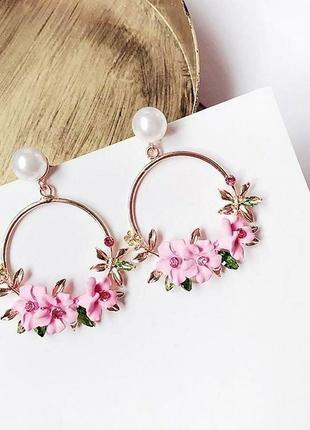 Красивенные серьги кольца весенние цветы