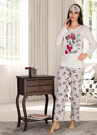 Жіноча літня котонова піжама з пов'язкою Woman Homewear Код:80107