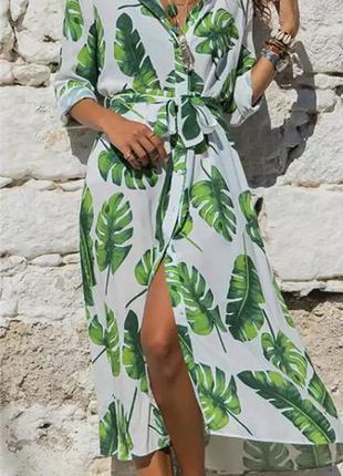 Легкое закрытое плате халат длинный туника белое с зелёным лис...
