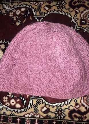 Вязаная розовая шапка ручной работы натуральные шерстяные нитки