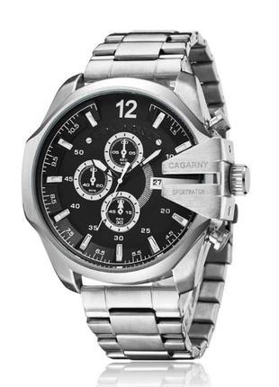 Мужские серебряные часы diesel 10 bar металический браслет