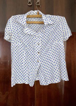 Модная белая рубашка в горошек с воротником