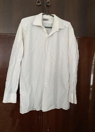 Капроновая белая рубашка с длинным рукавом и воротником