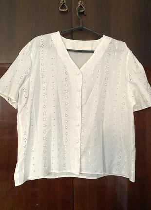 Большая натуральная ажурная блуза короткий рукав