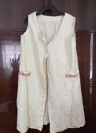 Натуральное ленное платье-халат с вышивкой
