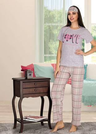 Жіноча літня котонова піжама з пов'язкою Miss Carella  Код: 80120