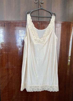 Большая кружевная вискозная сорочка комбинация
