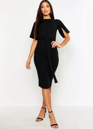 Чёрное миди платье 🔥 платье карандаш boohoo🔥